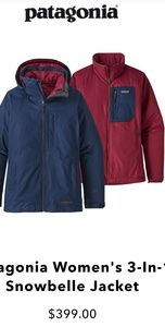Women's Patagonia 3 in 1 snowbell jacket